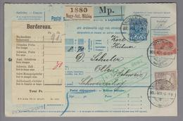 "Heimat Rumänien Nagy-Szt.Miklos 1905-11-05 Paketkarte Mit Perfinmarken Ungarn ""P.A."" - 1881-1918: Charles Ier"