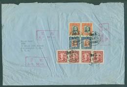 China - XX. 1947 (6 Sept). Shanghai - USA. Multifkd Airmail Env With Three Red Air Cachets. - China