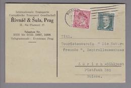 """Tschechoslowakei 1936-06-13 Prag Correspondenzkarte Mit Perfinmarken """"RS"""" Rivnac & Sula - Tchécoslovaquie"""