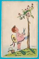 Carte Illustrateur  Pailletée Fillette Et Ses Ciseaux Pour Couper Fleurs - Children