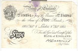 Billet 5 Livres / Five Pounds Bank Of England - 8 February 1934 - Billet Authentique / Genuine Banknote - 5 Pounds