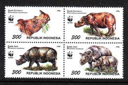 Indonesia - 1996. Rinoceronti. Rhinos. Complete MNH Series - Rhinocéros