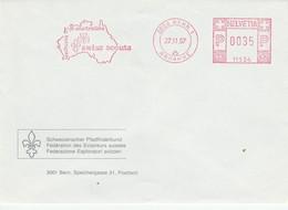 """(D1163) Affr. Mécanique Rouge: Jamboree Mondial Australie 87-88 """"scoutes Swisss"""" - Lettres & Documents"""