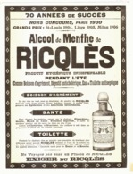 "PUB ALCOOL DE MENTHE  "" RICQLES  ""  1908 ( 1 ) - Other"