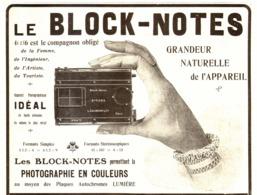 """PUB APPAREILS PHOTOGRAPHIQUES    """" BLOCK-NOTES """"   1908  ( 1 ) - Other"""