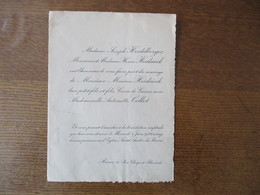 REIMS LE 4 JUIN 1924 MONSIEUR MAURICE HEIDSIECK CROIX DE GUERRE AVEC MADEMOISELLE ANTOINETTE COLLET - Mariage