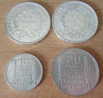 France - Lot De 4 Monnaies En Argent - 10 Francs Hercule 1966 / 1967, 10 Et 20 Francs Turin 1938 - Etat SUP - Collections