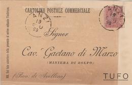 Anzi.  1899. Annullo Grande Cerchio ANZI, Su Cartolina Postale Commerciale - 1878-00 Humbert I