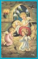 NOEL Illustrateur Nativité Anges Oiseaux Carte Italienne Adressée à Hagondange - Navidad