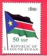 SOUTH SUDAN Surcharged Overprint 50 SSP On 1 SSP National Flag Stamp Of The 1st Set SOUDAN Du Sud Südsudan - Sud-Soudan
