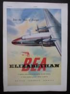 ORIGINAL 1951 MAGAZINE ADVERT FOR BEA ELIZABETHAN AEROPLANE - Other