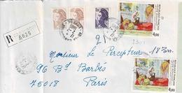 TP N° 2301 En Double Sur Enveloppe En Recommandé De Canourgue - Postmark Collection (Covers)