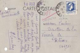 Marianne D'Alger N° 639 Sur Carte Postale De 1944 - Marcophilie (Lettres)