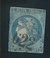 FRANCE: Obl., N° 45B, T II, Rep 2, Bleu, DEF - 1870 Bordeaux Printing