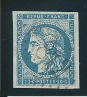 FRANCE: Obl., N° 45Cd, T II, Rep 3, Bleu Clair, TB - 1870 Ausgabe Bordeaux