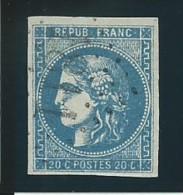 FRANCE: Obl., N° 46B, T III, Rep 2, Bleu, TB - 1870 Ausgabe Bordeaux