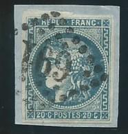 FRANCE: Obl., N° 46Ba T III, Rep 2, Bleu Foncé Sur Frgt, Signé Serrane TB - 1870 Ausgabe Bordeaux