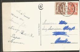 COB 419 Et 424 Oblitérés Sur Carte - Oblitération : MARCHIN - Lettres & Documents