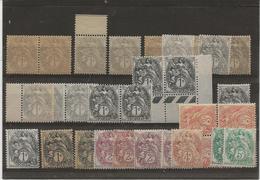 TYPE BLANC - LOT  DU N° 107 AU 110 - NEUF AVEC ET SANS CHARNIERE -ANNEE 1900-24 - 1900-29 Blanc
