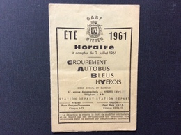 DÉPLIANT HORAIRES Groupement Autobus BLeus Hyerois  GABY  HYERES   Été 1961 - Transportation