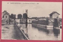 02 - SAINT QUENTIN----Les Ecluses Du Canal--péniches--animé - Saint Quentin