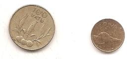 2 PIECES 1 VATU 1999 100 VATU 2002 - Vanuatu