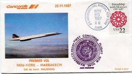 ENVELOPPE CONCORDE 1er VOL NEW-YORK - PARIS DU 25-11-1987 - Concorde