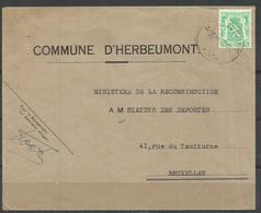 COB 712 Oblitéré Seul Sur Lettre - COMMUNE D'HERBEUMONT - Belgium