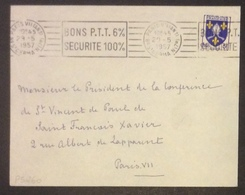 PS260 Paris VII (An.1) «Bons P.T.T. 6% Sécurité 100%» Saintonge 1005 Bd St Germain (7è) 29 5 57 - Poststempel (Briefe)