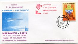 ENVELOPPE CONCORDE 1er VOL COMMERCIAL MARRAKECH - PARIS DU 12-5-1985 - Concorde