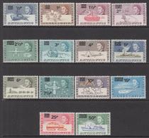 1971 British Antarctic Territory Definitives Surcharges Complete Set Of 14 MNH - Britisches Antarktis-Territorium  (BAT)