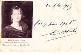 SALON De PARIS 1905 - PORTRAIT De FEMME - BLONDINETTE Par Léon HERBO Carte écrite Et Signée Par Le PEINTRE - RARE - Peintures & Tableaux