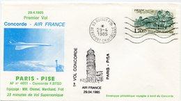 ENVELOPPE CONCORDE 1er VOL PARIS - PISE DU 29-4-1985 - Concorde