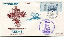 ENVELOPPE CONCORDE 1er VOL PREMIER ATTERRISSAGE REIMS LE 12-7-1987 - Concorde