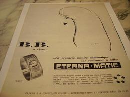 ANCIENNE PUBLICITE B B A CHOISI  MONTRE ETERNA.1959 - Joyas & Relojería