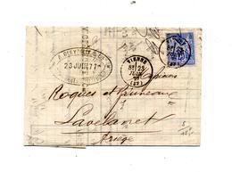 Lettre Cachet Vienne Sur Sage  + Carcassonne  Convoyeur Lyon à Marseille  +lavelanet - Marcophilie (Lettres)