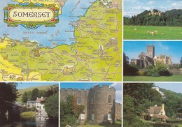 Postcard Somerset Multiview Wells Malmsmead Taunton Selworthy Dunster & Map My Ref  B23520 - England