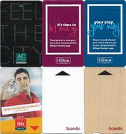 6 Various Different Hotel Key Cards - Hotelkarten