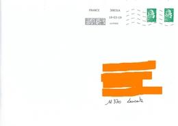 MTI GT 39831A Sur 2 Timbres Lettre Verte Marianne L'engagée Ysault Yz - Marcofilie (Brieven)