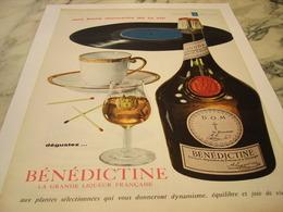 ANCIENNE  PUBLICITE GRANDE LIQUEUR  BENEDICTINE 1959 - Alcohols