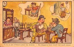 Café Estaminet Brasserie... Il N'y A Pas D'heure Pour Les Braves (humour 1954) - Cafés