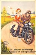 Un Bonjour/ Groeten Uit Scherpenheuvel  (animée, Carte Système Une Vue, Moto 1957) - Scherpenheuvel-Zichem