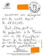 """Cachet Manuel Leucate Aude Sur Courrier De Service """"avisé Non Réclamé"""" - Marcofilie (Brieven)"""