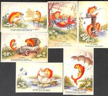 Lot 6 Cartes 1er Avril Poisson Colorisée - 1er Avril - Poisson D'avril