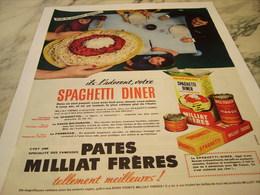 ANCIENNE PUBLICITE SPAGHETTI DINER  PATE MILLIAT FRERES 1959 - Afiches