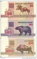 BIELORUSSIE 25-50-100 RUBLEI UNC P 6-7-8 (  3 Billets ) - Belarus