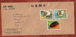 Luftpost, Dienstbrief, Muscheln, Aitutaki Cook Islands Nach Auckland 1978 (71837) - Aitutaki