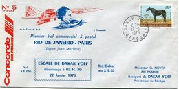 ENVELOPPE CONCORDE N°5 DE LA CROIX DU SUD.......PREMIER VOL COMMERCIAL & POSTAL RIO DE JANEIRO - PARIS ESCALE DE DAKAR.. - Concorde