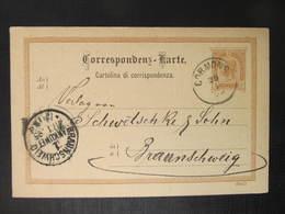 GANZSACHE Cormons - Braunschweig 1895 Korespondenzkarte  //   D*37518 - 1850-1918 Imperium