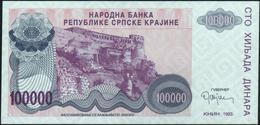 CROATIA - 100.000 Dinara 1993 {Knin} UNC P. R22 - Croatia
